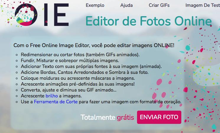Imagem mostrando o editor online de fotos